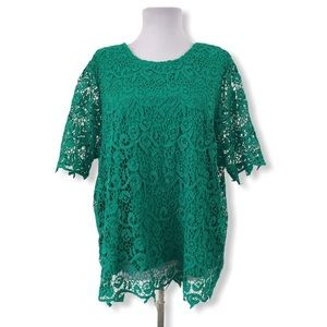 Philosophy XL Blouse Lace Stretchy Green S/S